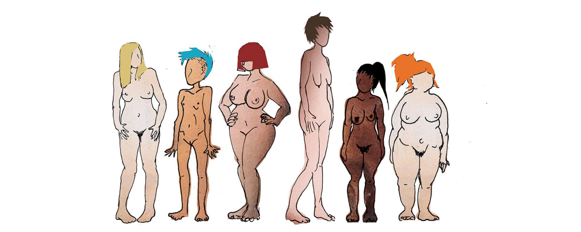 Erikokoisia ja värisiä naisia alasti -piirroskuva.