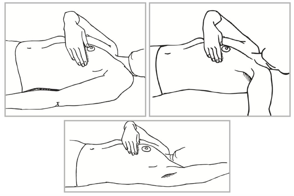 nainen makuulla, tutkii toisella kädellä rintaa sivulta ja alta -piirroskuva