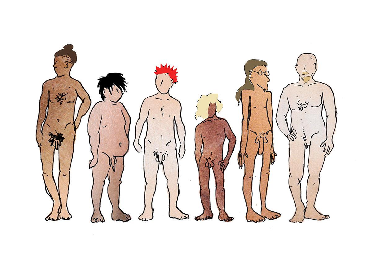 Erikokoisia ja värisiä miehiä alasti -piirroskuva.